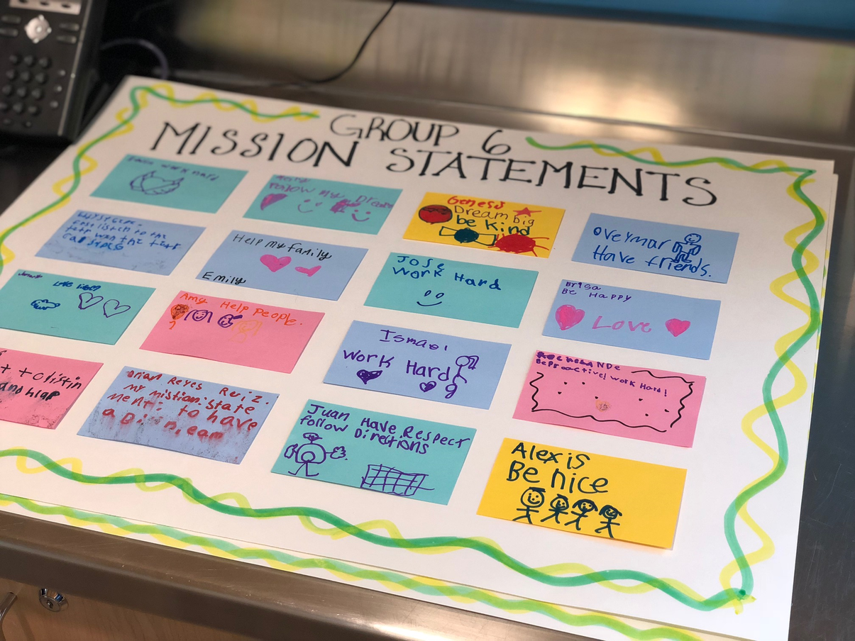 Parents and students working on mission statements
