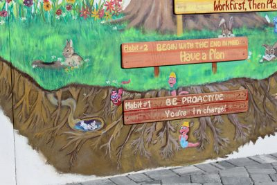 bottom part of the mural close up