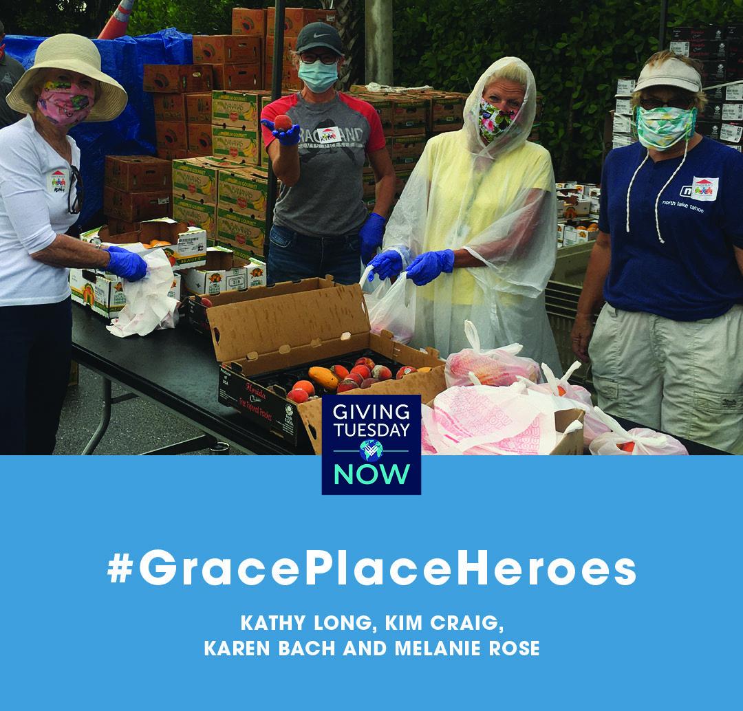 Karen, Kim, kathy and Melanie in food pantry